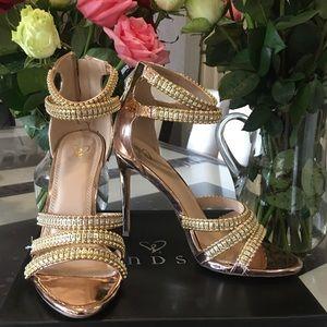 Glamorous Barbara style rose gold heels 8.5 M